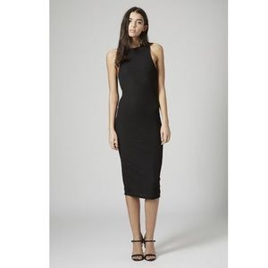 Topshop • Black Ribbed Midi Bodycon Dress